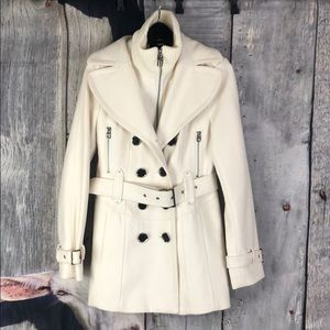 Miss Sixty Off White Wool Blend Coat Size M